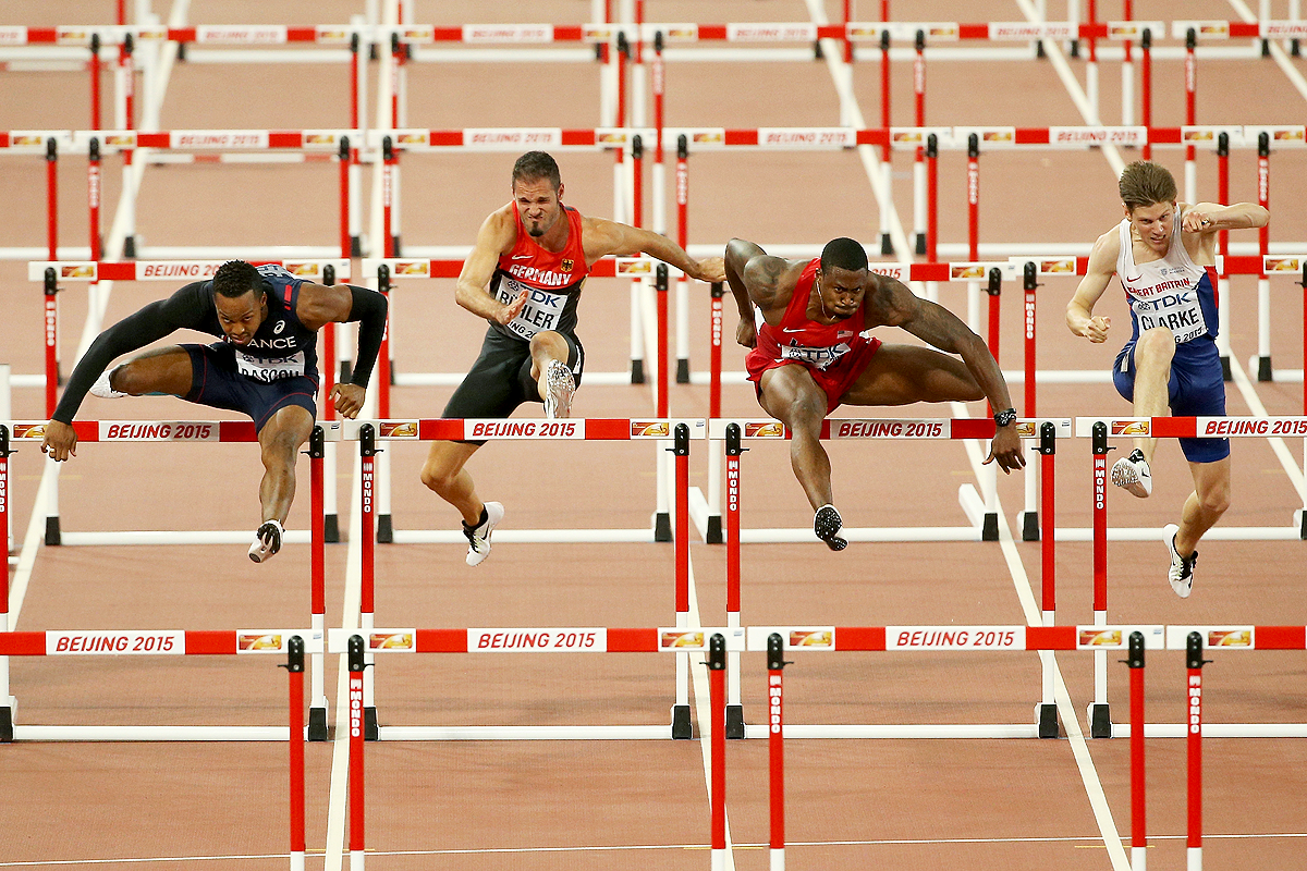 David Oliver in the 110m hurdles semi-final at the IAAF World Championships Beijing 2015 (Getty images)