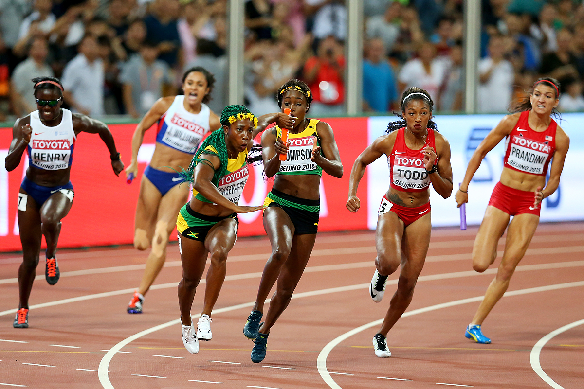 Shelly-Ann Fraser-Pryce anchors Jamaica to gold in the 4x100m at the IAAF World Championships Beijing 2015 (Getty Images)