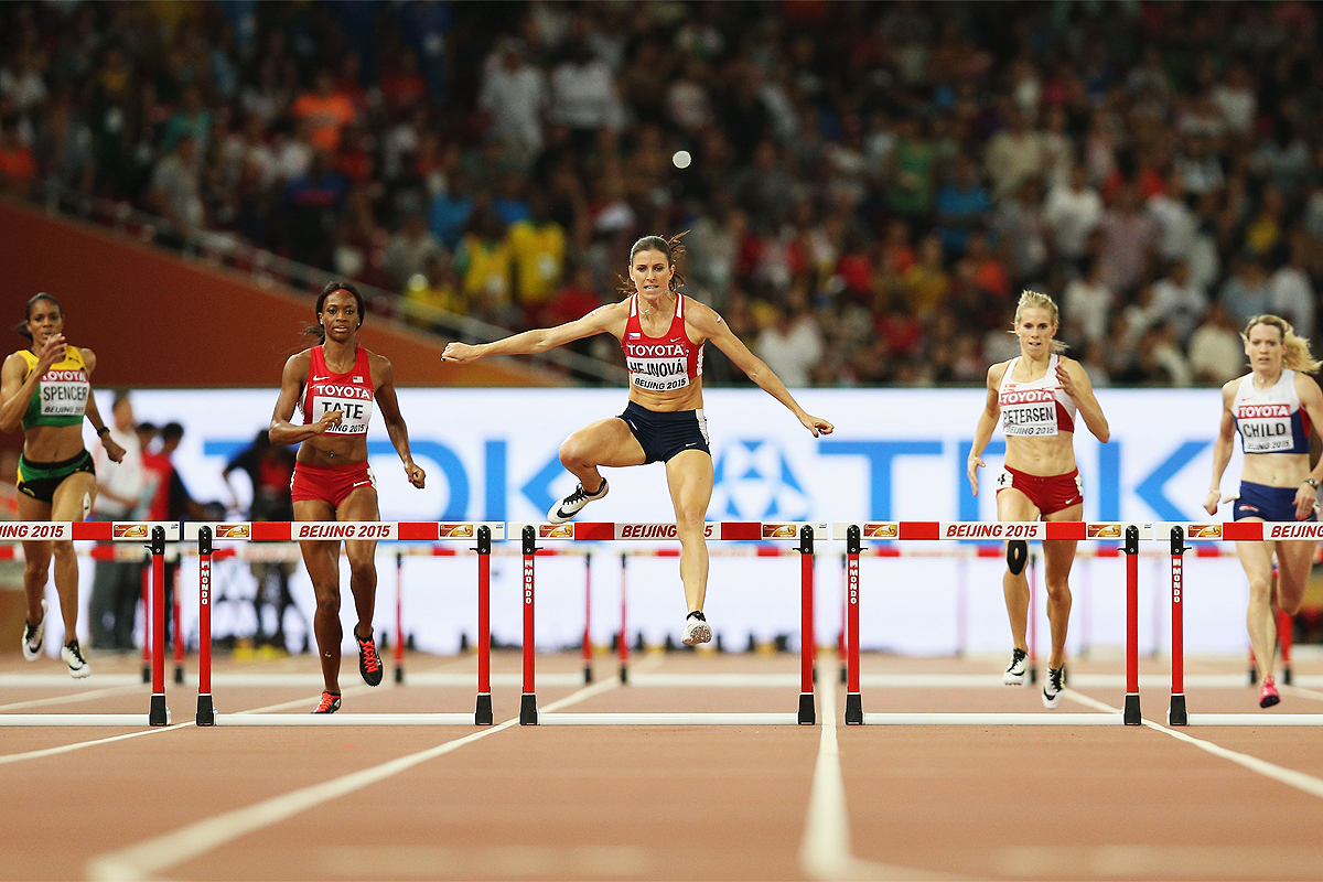 Zuzana Hejnova leads the 400m hurdles at the IAAF World Championships Beijing 2015 (Getty Images)