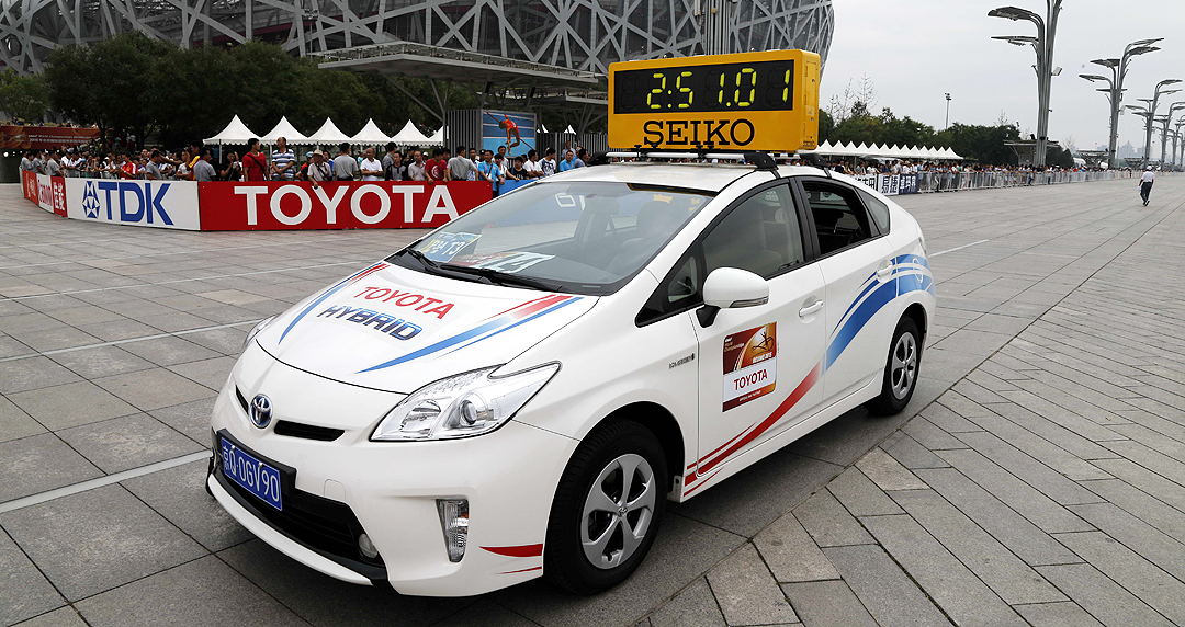 The lead vehicle at the IAAF World Championships Beijing 2015 (Toyota)