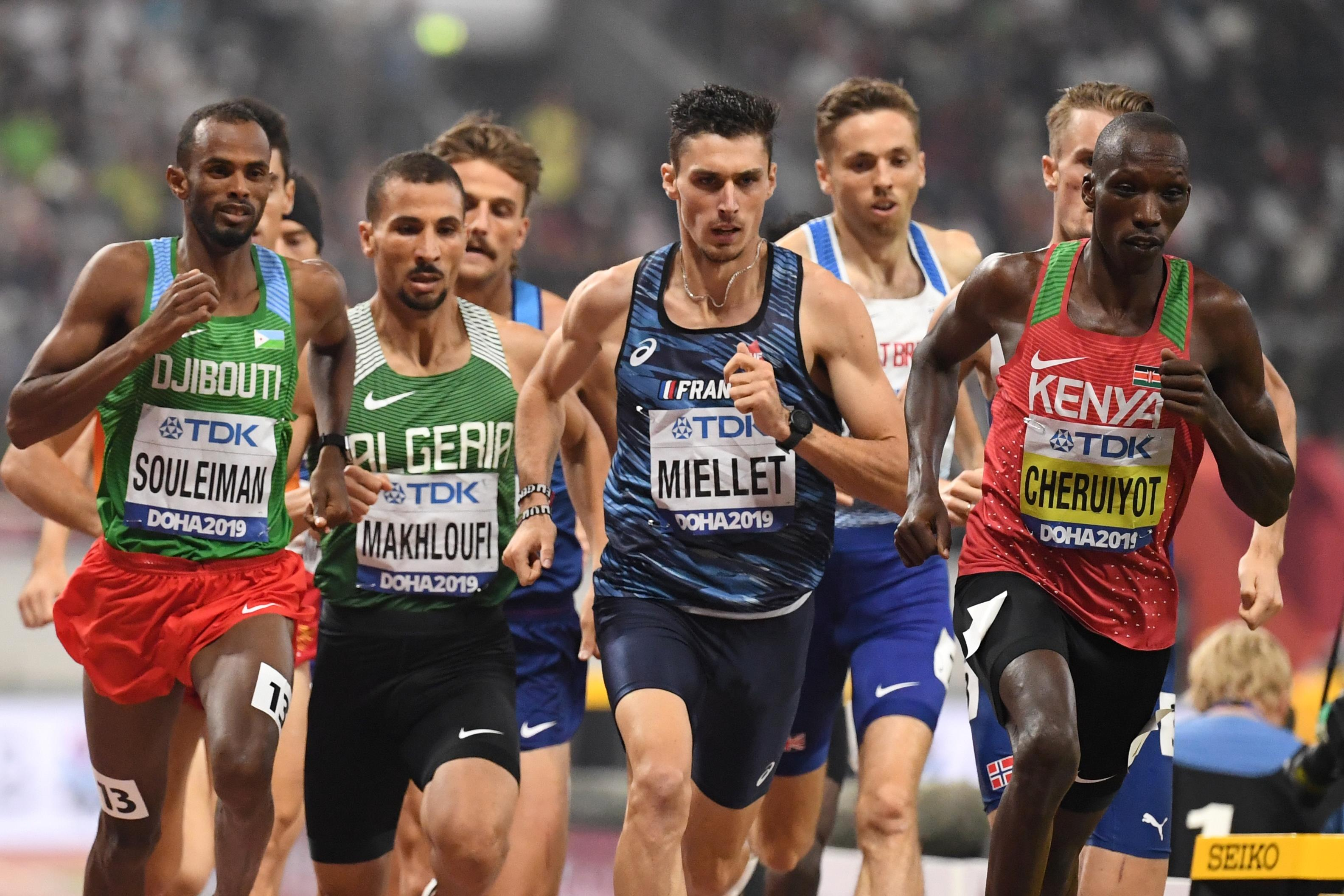 Action from the men's 1500m at the World Championships (AFP / Getty Images)