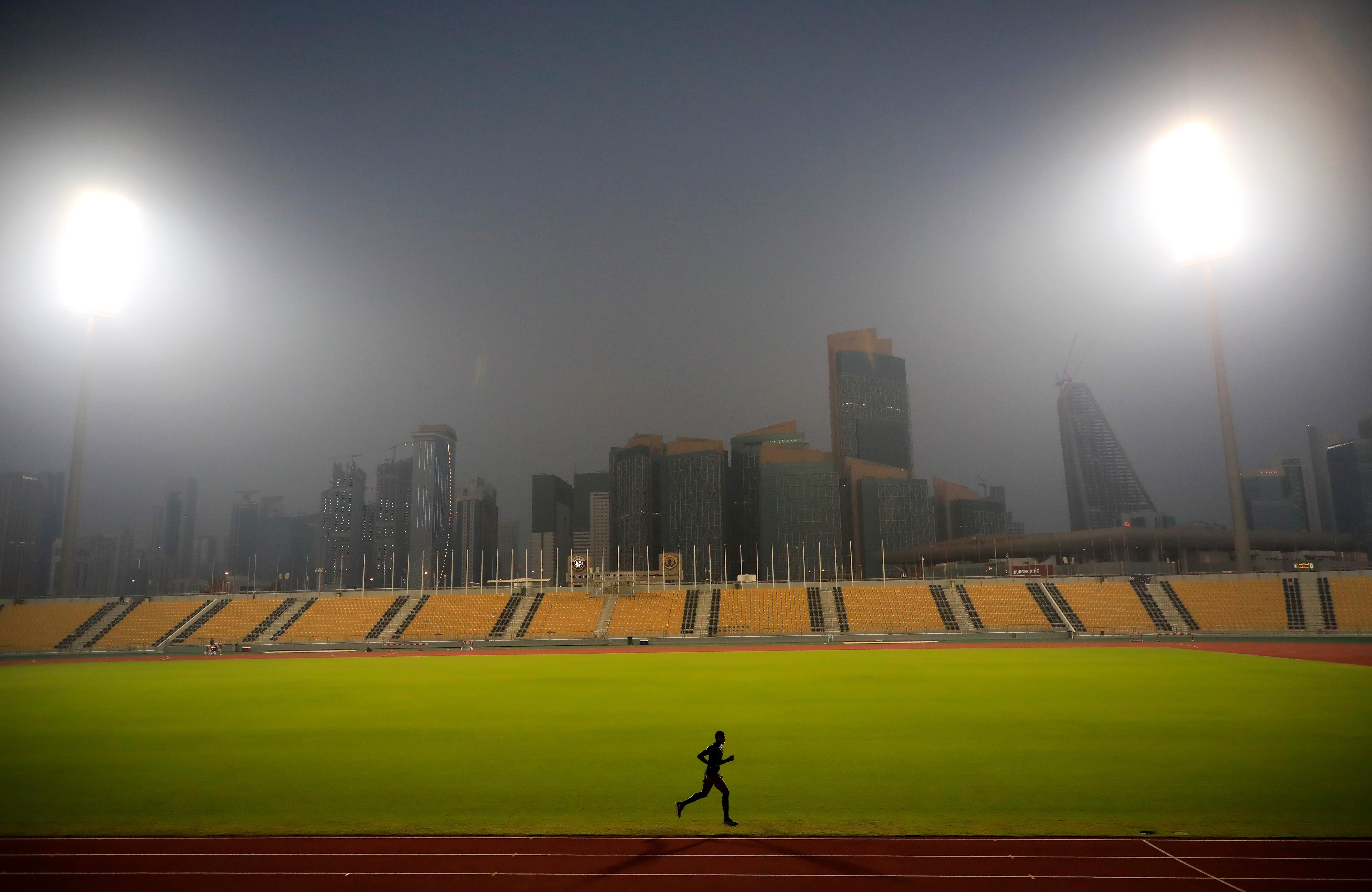 Qatari 400m runner Abdalelah Haroun on the training track in Doha (Getty Images)