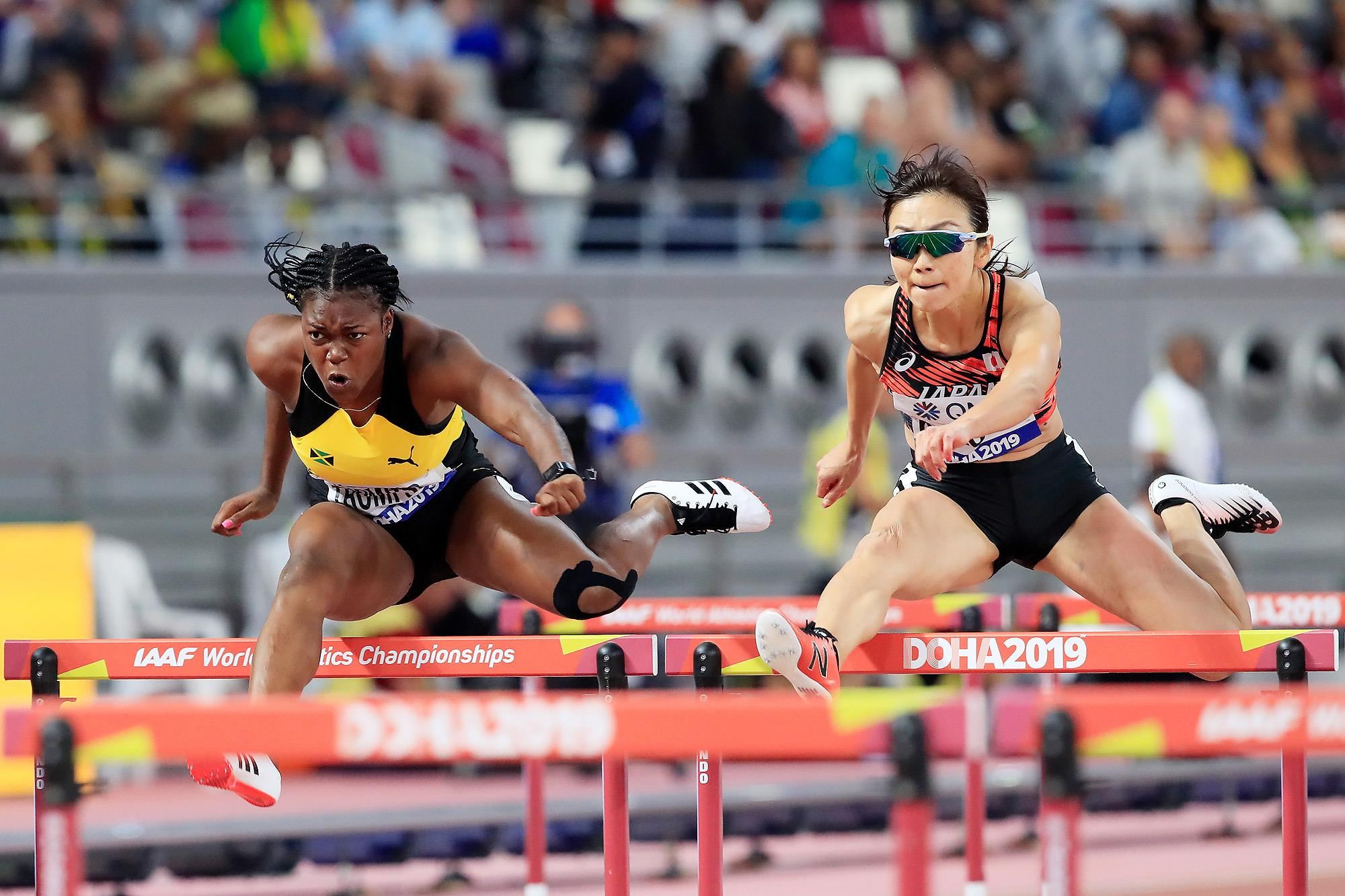 Yanique Thompson and Ayako Kimura in the 100m hurdles (Getty Images)