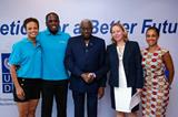 (L-R) Olympic champions and IAAF Ambassadors Joanna Hayes and Dwight Phillips, IAAF President Lamine Diack, UNDP Country Director Agi Veres & UNDP Head of Policy and Partnerships Hannah Ryder (Getty Images)