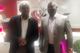 Kirimi Kaberia, Principal Secretary for Sports in Kenya, and Athletics Kenya president Jackson Tuwei at the IAAF headquarters in Monaco (IAAF)
