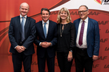 Danish Federation Director Jakob Larsen, IAAF President Sebastian Coe, Danish Federation Head of Communications Henriette Leth Nielsen and Senior Events Consultant of the City of Aarhus Finn Lyck (Philippe Fitte / IAAF)