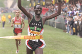 Paul Tergat wins the senior men's title at the 1997 IAAF World Cross Country Championships (Getty Images)