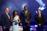 The 2016 IAAF World Athletes of the Year Almaz Ayana and Usain Bolt with HSH Prince Albert II of Monaco and IAAF President Sebastian Coe (Philippe Fitte / IAAF)