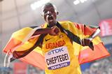 Joshua Cheptegei after taking the 10,000m title at the IAAF World Championships DOHA 2019 (Getty Images)