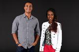 Ashton Eaton and Genzebe Dibaba, studio shots taken in 2013 and 2014 (Giancarlo Colombo / IAAF)