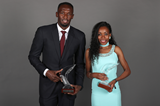World Athletes of the Year Usain Bolt and Almaz Ayana at the IAAF Athletics Awards 2016 (Giancarlo Colombo / IAAF)