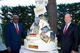 IAAF President Lamine Diack and HSH Prince Albert II of Monaco with the IAAF Centenary Birthday cake (Gaëtan Luci / Palais princier)