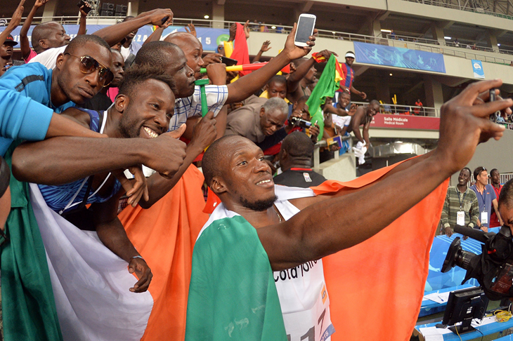 Ben Youssef Meite after winning the 100m at the All-Africa Games (AFP / Getty Images)