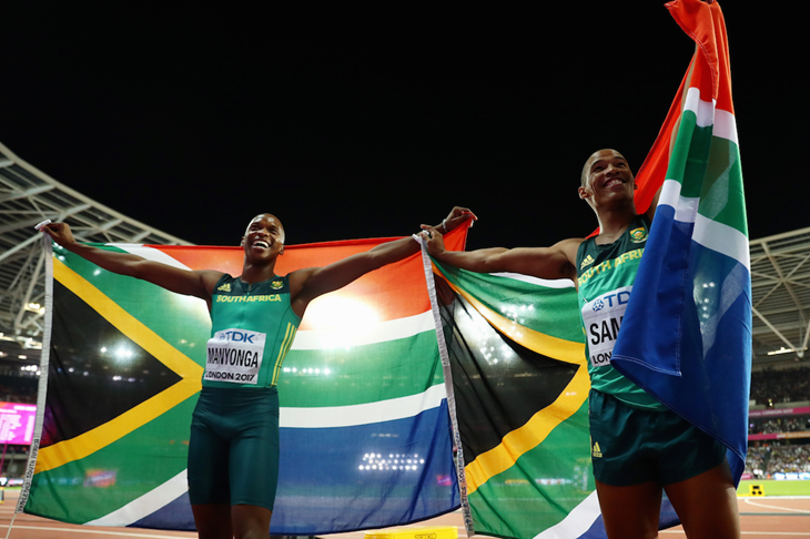 South African long jumpers celebrate gold and bronze (Getty Images)