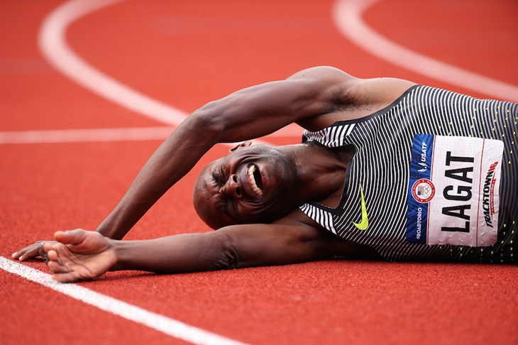 Bernard Lagat celebrates after winning the 2016 US Olympic Trials ()