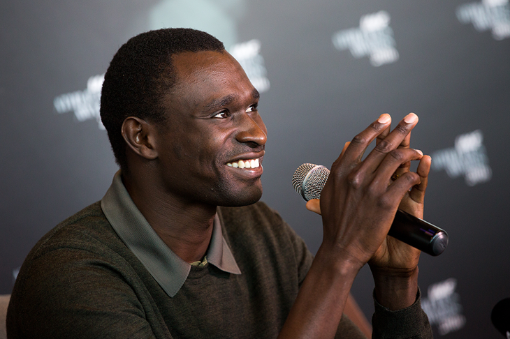 David Rudisha speaks to the press ahead of the IAAF Athletics Awards 2016 (Philippe Fitte / IAAF)