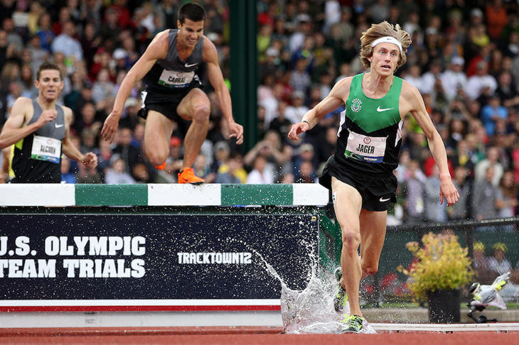 Evan Jager on his way to winning the steeplechase at the US Trials (Getty Images)