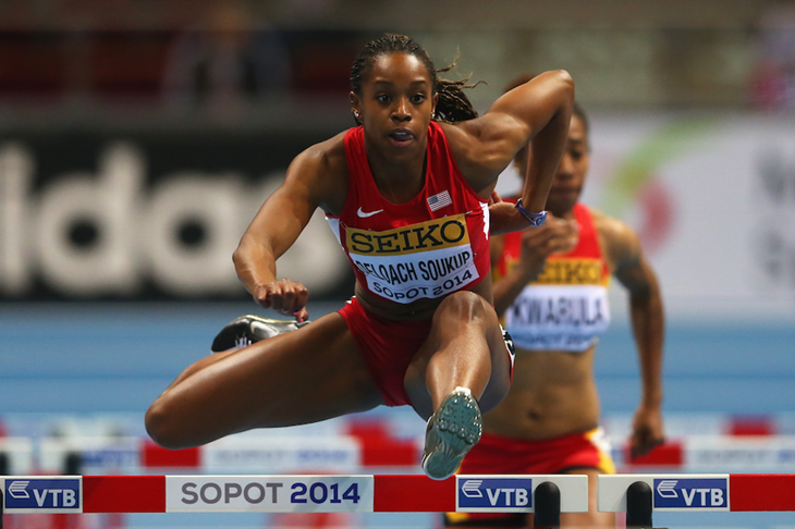 Janay DeLoach competes in the 60m hurdles at the 2014 IAAF World Indoor Championships ()