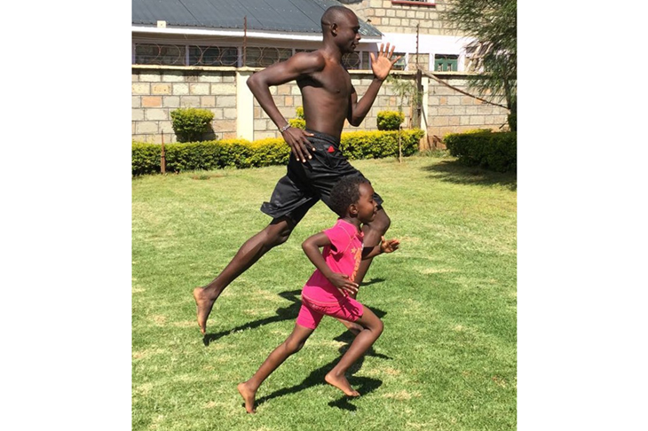David Rudisha trains at home with his daughter Charlene (James Templeton)