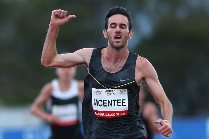 Sam McEntee wins the 5000m at the Briggs Athletics Classic in Hobart ()