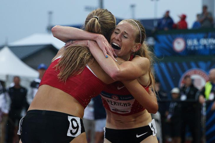 Courtney Frerichs and Colleen Quigley at the 2016 US Olympic Trials (Getty Images)