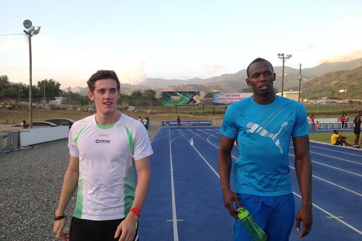 Jarrod Geddes and Usain Bolt ()