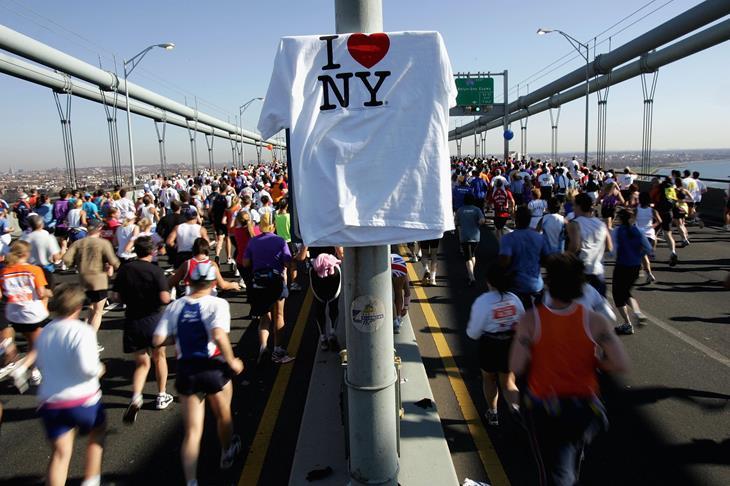Runners stream over the Verrazano Narrows Bridge at the start of the New York City Marathon (Getty)
