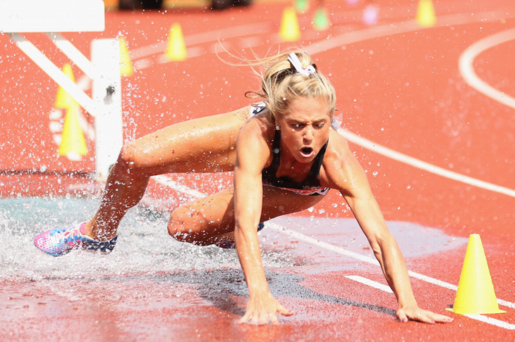 Genevieve LaCaze falls at the 2013 Birmingham Diamond League ()
