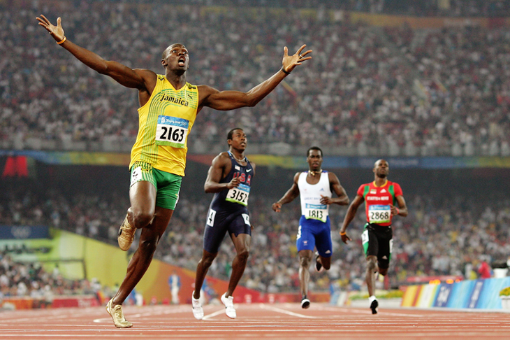 Usain Bolt celebrates breaking the 200m world record in Beijing 2008 (Getty Images)