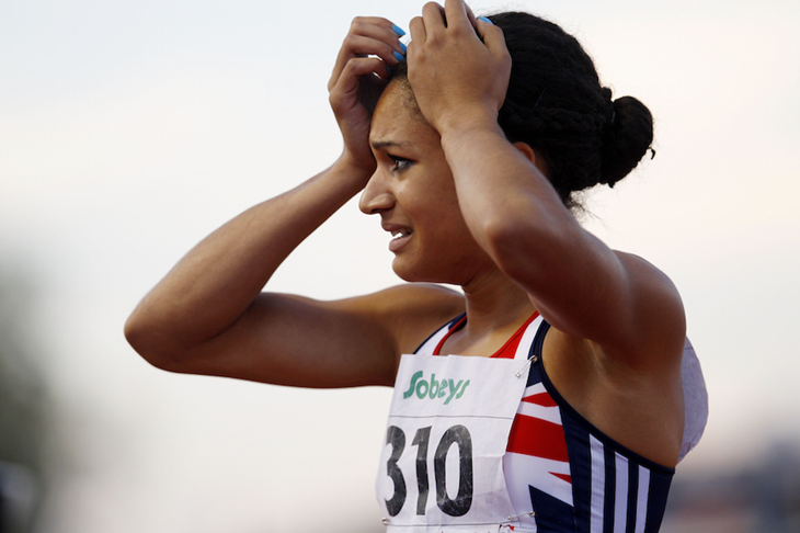 Jodie Williams reacts after finishing second in the 2010 World Junior Championships ()
