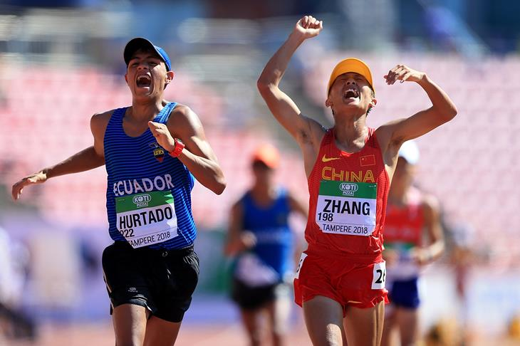 Zhang Yao and David Hurtado in the 10,000m race walk at the IAAF World U20 Championships Tampere 2018 (Getty Images)