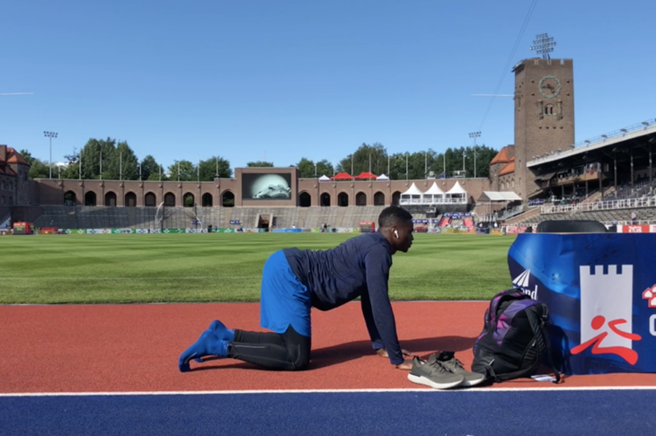 Aaron Brown during his pre-meet ahead of the Stockholm Diamond League (Michelle Sammet)