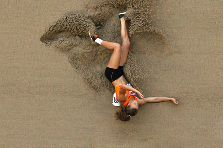 Nadine Visser during the long jump in Beijing ()