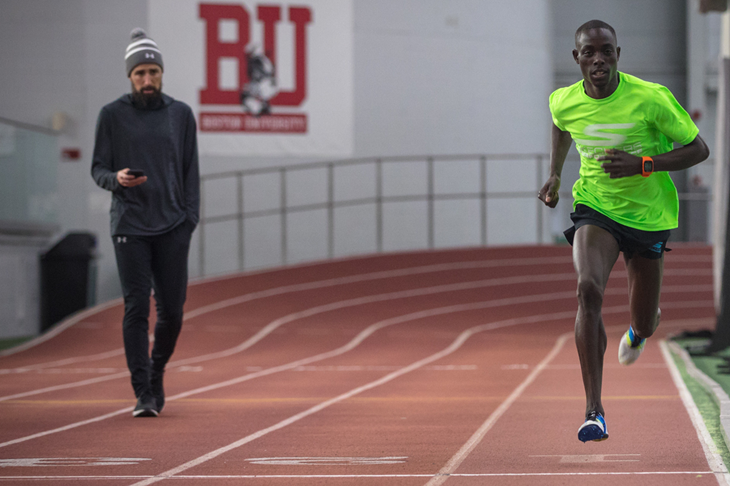 Edward Cheserek before his 3:49 mile effort at Boston University (Justin Britton)