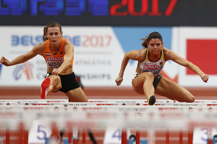 Nadine Visser and Pamela Dutkiewicz compete at the European Indoor Champs (Getty Images)