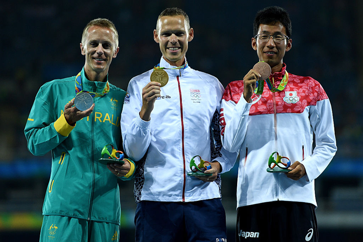 The 50km race walk podium in Rio (Getty Images)