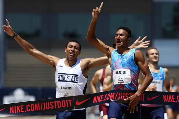 Donavan Brazier winning the USATF 800m title (Getty Images)