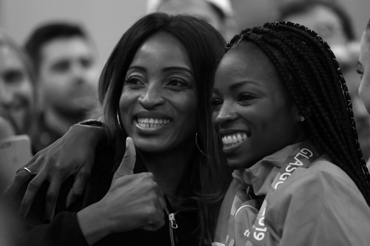 Cynthia Bolingo and her coach Carole Mebam (Getty Images)