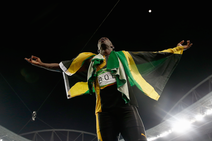 Usain Bolt celebrates his ninth Olympic gold in Rio ()