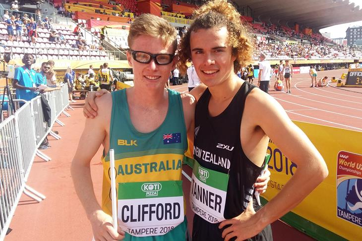 Jaryd Clifford and Samuel Tanner after their 1500m heat at the IAAF World U20 Championships Tampere 2018 (Cathal Dennehy)