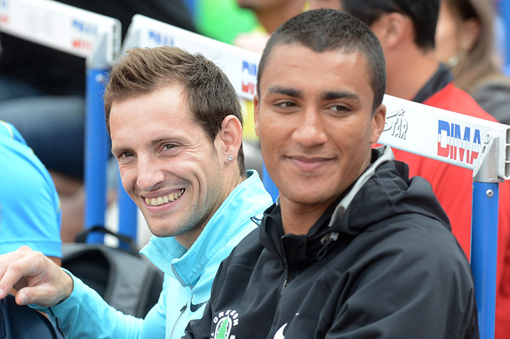 Renaud Lavillenie and Ashton Eaton during the DecaStar (Getty Images / AFP)