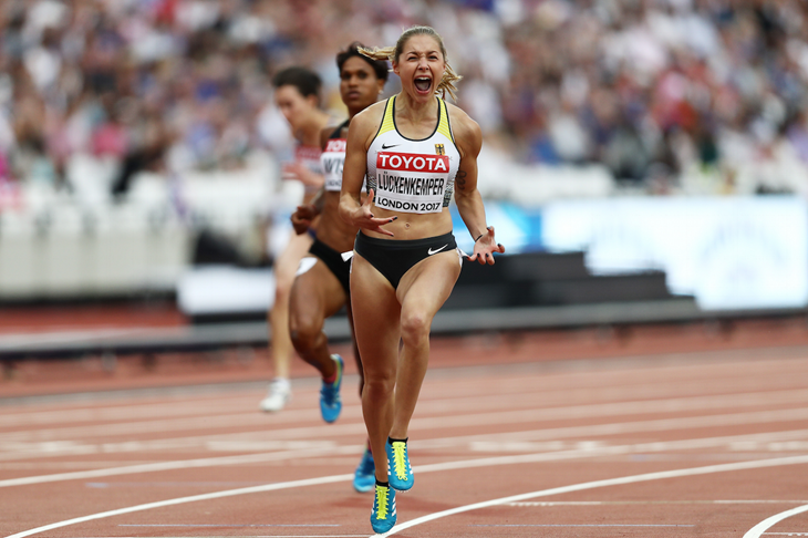 Gina Luckenkemper clocks a PB in the 100m heat (Getty Images)