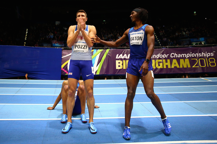 Andrew Pozzi reacts after being given the nod ahead of Jarret Eaton in the men's 60m hurdles final at the World Indoors in Birmingham ()