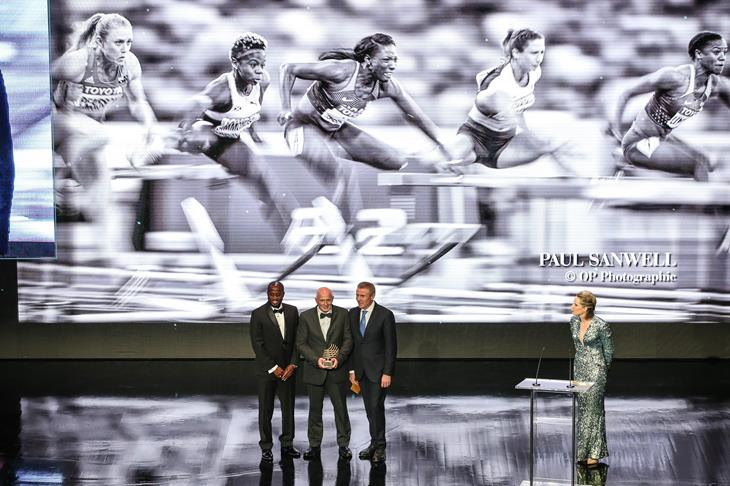 Paul Sanwell (c), winner of the 2017 Athletics Photograph of the Year award (Philippe Fitte)