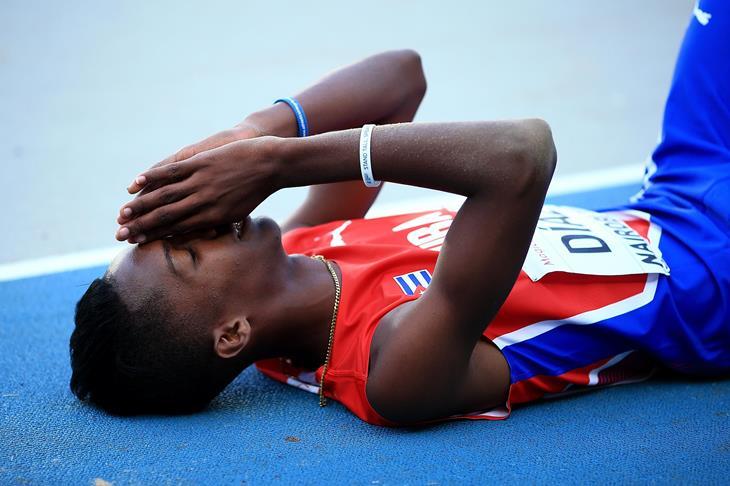 Jordan Diaz after winning the boys' triple jump at the IAAF World U18 Championships Nairobi 2017 (Getty)