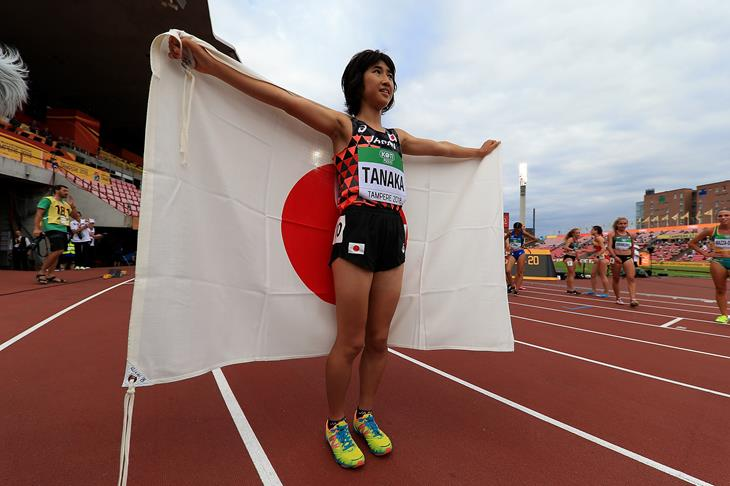 Nozomi Tanaka of Japan after her 3000m triumph at the IAAF World U20 Championships Tampere 2018 (Getty Images)