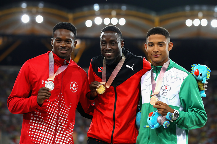 The men's 200m podium at the 2018 Commonwealth Games (Getty Images)