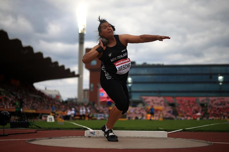 Madison-Lee Wesche of New Zealand en route to victory in the shot put at the IAAF World U20 Championships Tampere 2018 (Getty Images)