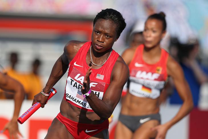 Jenebah Tarmoh competes at the IAAF World Relays ()