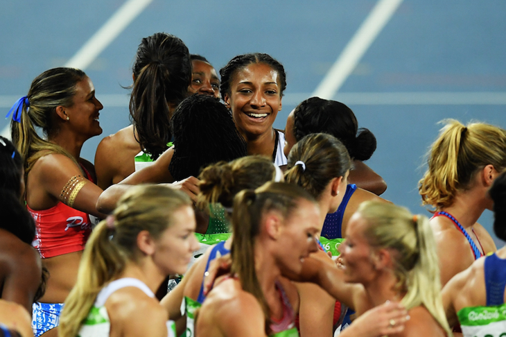 Nafi Thiam after winning the heptathlon at the Rio 2016 Olympic Games (Getty Images)